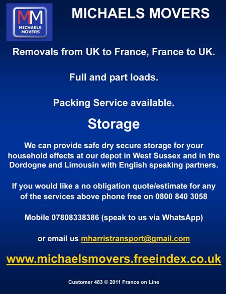 Michaels Movers,transport,English,West Sussex,UK to France,France to UK,removals,full loads,part loads,packing service,storage,Limousin,Dordogne