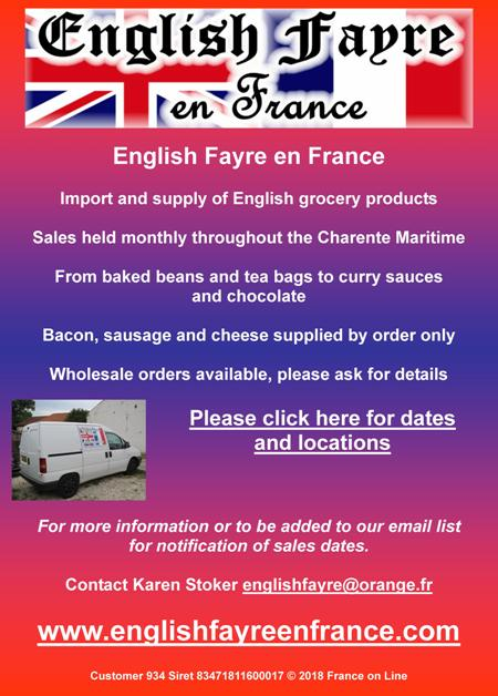 English Fayre en France,Charente Maritime,Charente,import of English grocery products,supply of English grocery products,wholesale supply of English grocery products,monthly sales