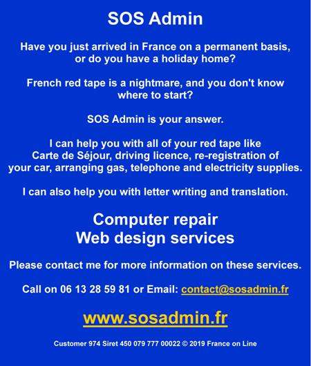 SOS Admin,carte de sejour,driving licence,re registration of cars,arranging gas,telephone,electricity,letter writing,translation English to French,French to English,computer repairs,web design services
