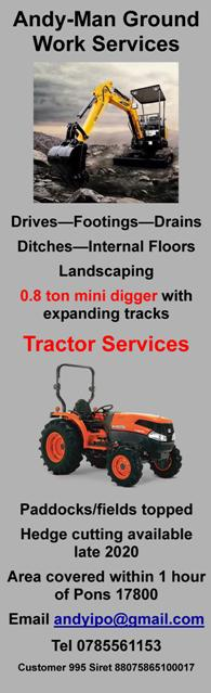 Andy Man Ground Work Services,English,0.8 ton mini digger,drives,footings,drains,ditches,internal floors,landscaping,tractor mowing,paddocks